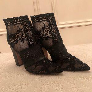 Lace chunky heel booties